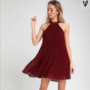 Lulu's Pretty Pleats Wine Red Pleated Swing Dress